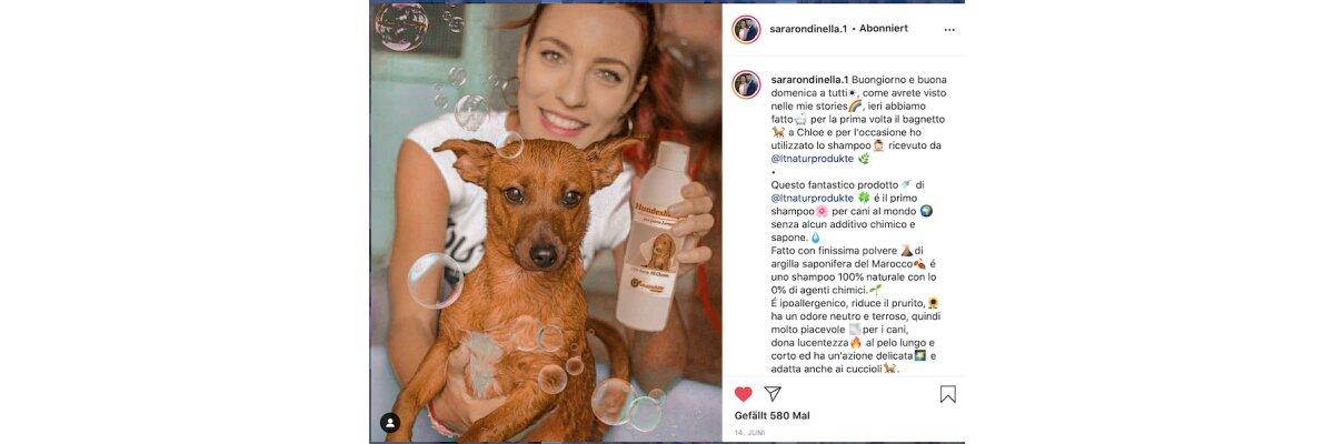 Internationaler Produkttest: Sara Rondinella testet unser Hundeshampoo - Internationaler Produkttest: Sara Rondinella testet unser Hundeshampoo