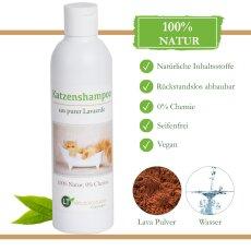 Katzenshampoo | Bio | sanfte Fellpflege ohne Chemie & Seife | gegen Juckreiz | hypoallergen | mit original marokkanischer Lavaerde | 250 ml | neuer Glanz für Kurz- und Langfell