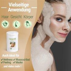 Lavaerde/Kaolin SENSITIVE | Original aus Marokko | 1 kg weißes, feines Pulver | Zur chemiefreien Haarwäsche, Körperpflege & Peeling | Vegan | Anti Schuppen