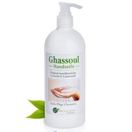 Lavaerde/Ghassoul Mischung zur Handwäsche | mit original marokkanischer Tonerde | Limettenduft | chemie- & seifenfrei | 500 ml mit Spender | vegan & Bio | Wascherde