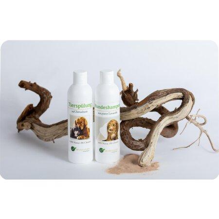 Pflegeset für Hunde | Shampoo & Pflegespülung | sanfte Fellpflege ohne Chemie & Seife | gegen Juckreiz | hypoallergen | mit original marokkanischer Lavaerde | 2x 250 ml | neuer Glanz für Kurz- und Langfell