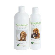 Pflegeset für Hunde | MAXI Sparpaket mit Shampoo & Pflegespülung | sanfte Fellpflege ohne Chemie & Seife | gegen Juckreiz | hypoallergen | 500 ml & 250 ml | für Kurz- und Langfell