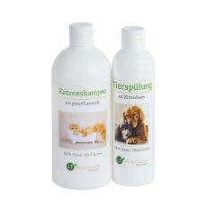 Pflegeset für Katzen | MAXI Sparset mit Shampoo & Pflegespülung | sanfte Fellpflege ohne Chemie & Seife | gegen Juckreiz | hypoallergen | 500 ml & 250 ml | neuer Glanz für Kurz- und Langfell