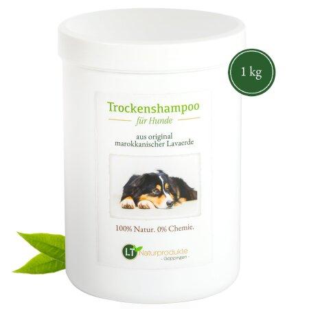 Trockenshampoo für Hunde - mit original marokkanischer Lavaerde | Vegan und Bio | zur chemiefreien Fellpflege | 1 kg