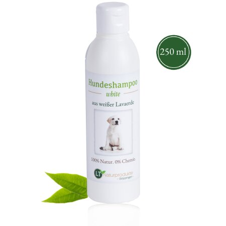 Hundeshampoo WHITE | Bio | sanfte Pflege für weißes Fell ohne Chemie & Seife | gegen Juckreiz | hypoallergen | mit original weißer Lavaerde | 250 ml