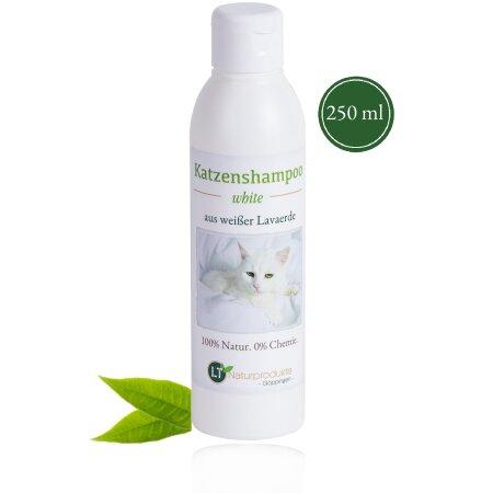 Katzenshampoo WHITE | Bio | sanfte Pflege für weißes Fell ohne Chemie & Seife | gegen Juckreiz | hypoallergen | mit original weißer Lavaerde | 250 ml