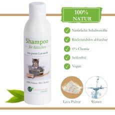 Kätzchenshampoo | Bio | sanfte Pflege für kleine Kätzchen ohne Chemie & Seife | gegen Juckreiz | hypoallergen | mit original weißer Lavaerde | 250 ml